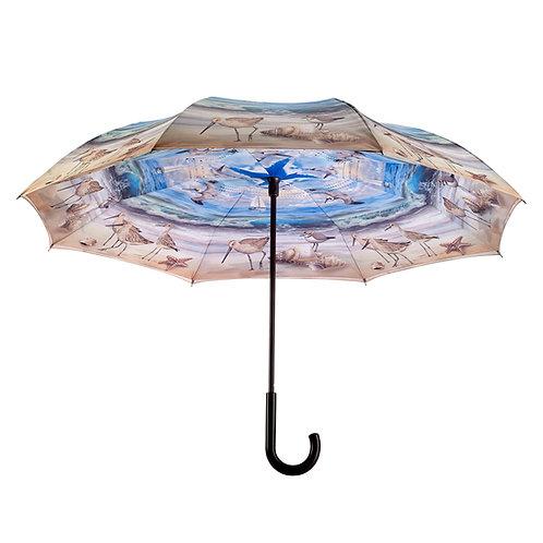 Beach Scene Stick Umbrella Reverse Close