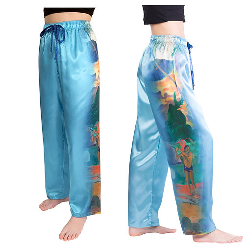 Gauguin Landscape with Peacocks-Satin Pajama Pants