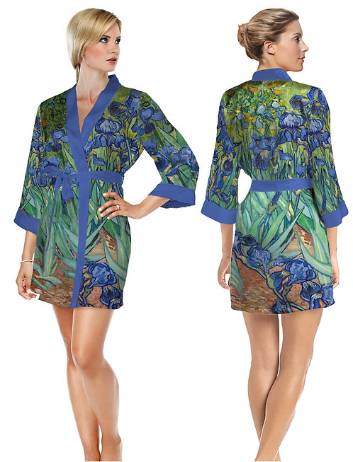 Van Gogh Irises Satin Short Bathrobe