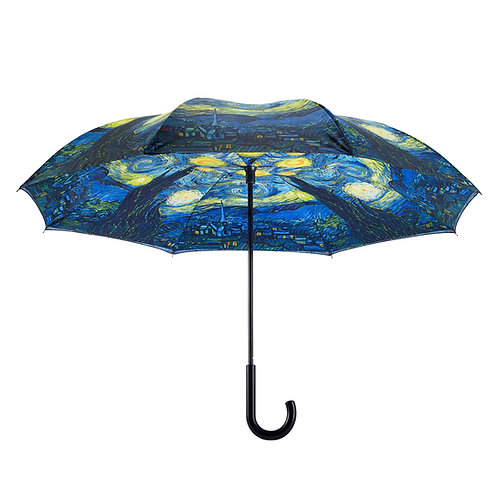 Starry Night Stick Umbrella Reverse Close