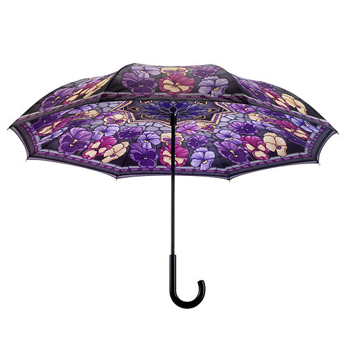 Stained Glass Pansies Stick Umbrella Reverse Close