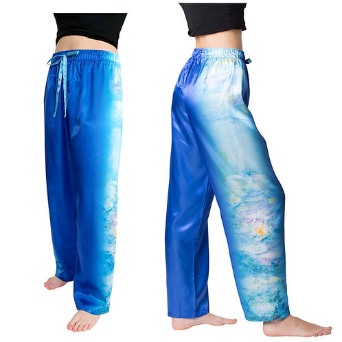 Monet Waterlilies-Satin Pajama Pants