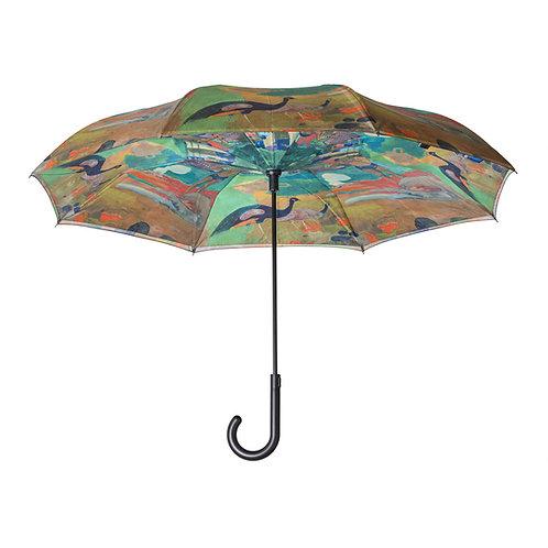 Gauguin Landscape with Peacocks Stick Umbrella Reverse Close