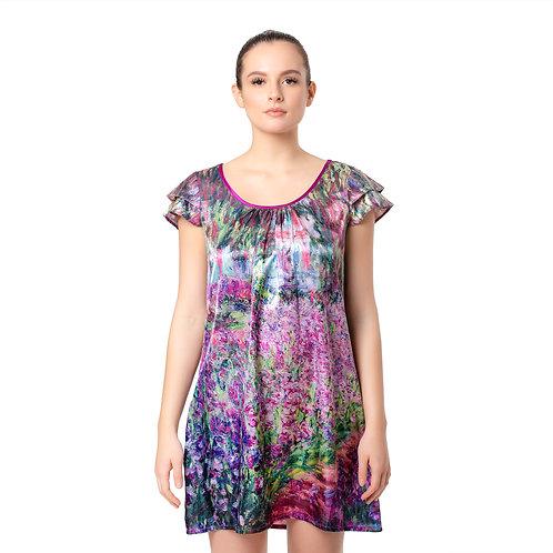 Monet Garden-Satin Flutter Sleeve Nightgown