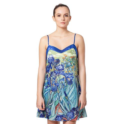 Van Gogh Irises-Satin Chemise Nightgown