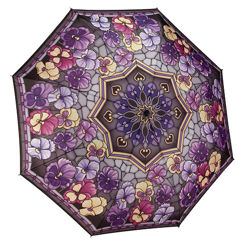 Stained Glass Pansies Folding Umbrella