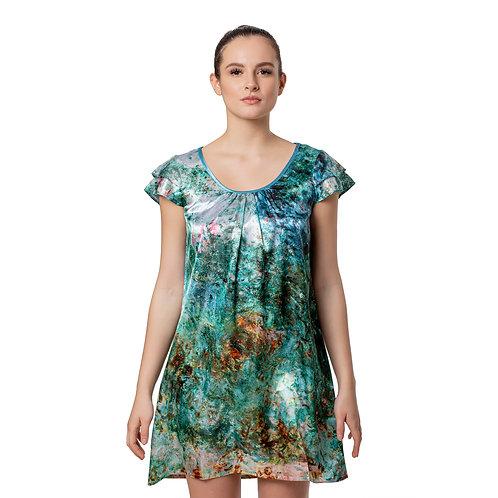 Monet House Viewed From Rose Garden-Satin Flutter Sleeve Nightgown