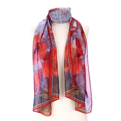 Stained Glass Poppies Scarf