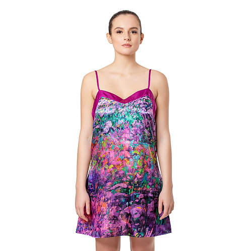 Garden Symphony Satin Chemise Nightgown