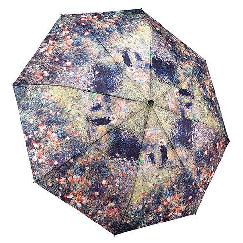 Renoir, Woman with a Parasol in a Garden Reverse Close Folding Umbrella