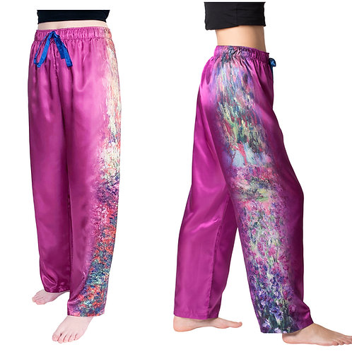 Monet Garden-Satin Pajama Pants