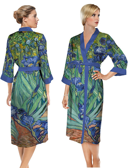 Van Gogh Irises Satin Long Bathrobe