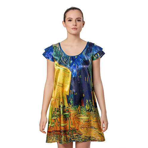 Van Gogh Cafe Terrace Satin Flutter Sleeve Nightgown