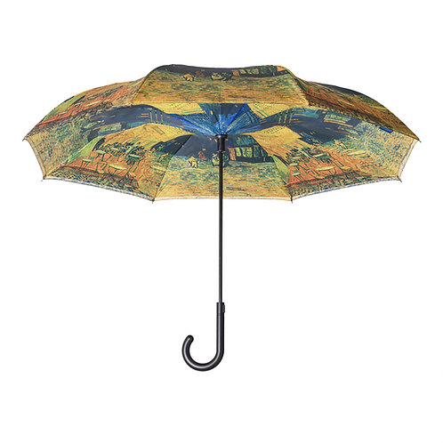 Van Gogh Café Terrace Stick Umbrella Reverse Close