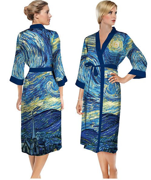 Starry Night Satin Long Bathrobe