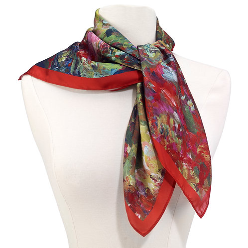 Monet, The Artist's House from the Rose Garden Square Satin Chiffon Scarf