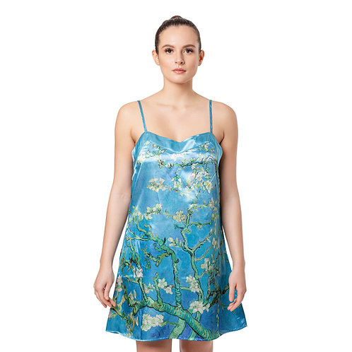 Van Gogh Almond Blossom-Satin Chemise Nightgown