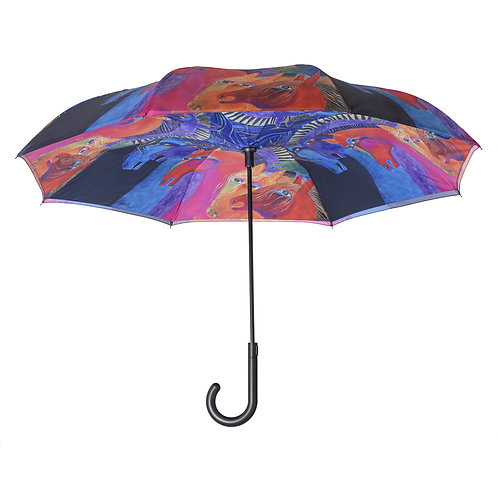 Laurel Burch Wild Hourses of Fire Stick Umbrella Reverse Close