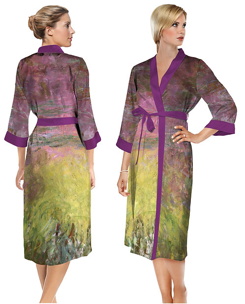 Waterlilies at Sunset Satin Long Bathrobe