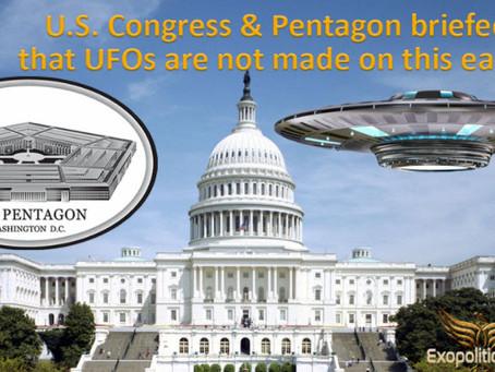 Le Congrès US et le Pentagone ont été informé que les OVNIS ne sont pas fabriqués sur cette terre