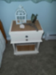 Lake Bedroom After; Upcycled Nightstand and beachy decor