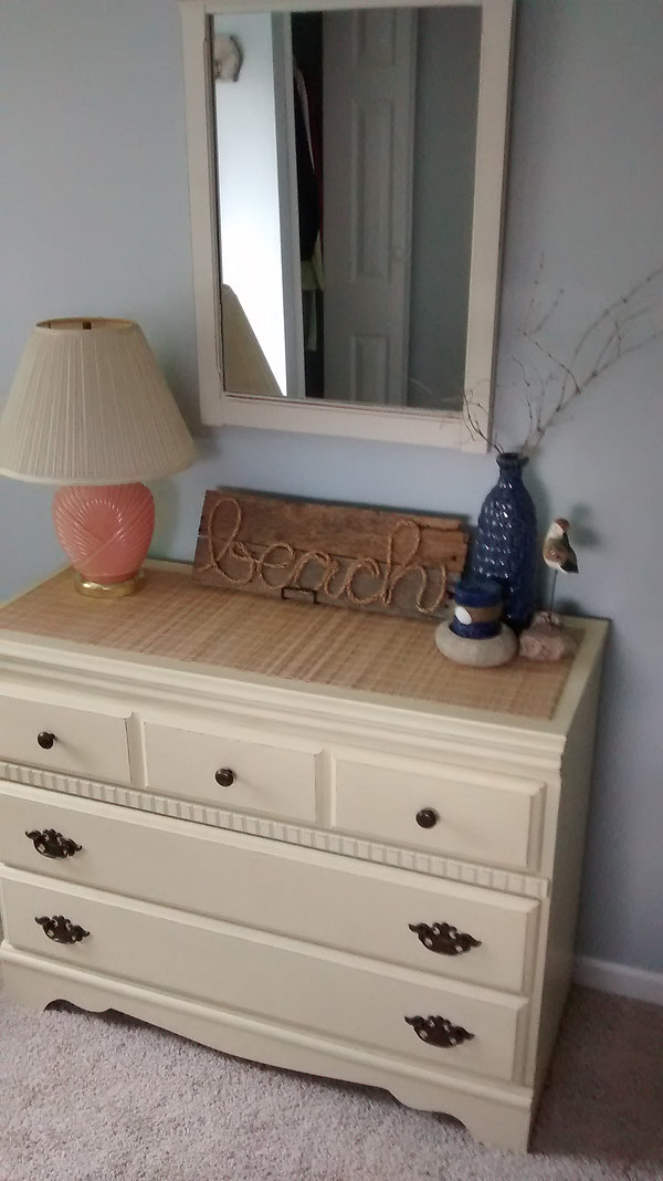 Lake Bedroom After; Refinished Dresser and Mirror
