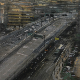 Autopista en Hang Zhou, día gris