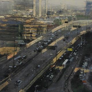 Autopista en Hang Zhou, día de sol