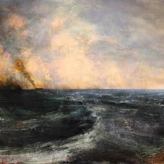 Tormenta negra y barco incendiado