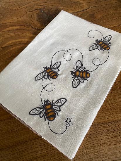 FULLERTON DESIGNS - Bumble Bees Tea Towel - Cream