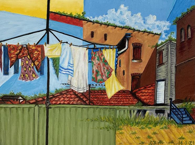 SANDY FULLERTON - Wash Day in Inner City 'Burbia'