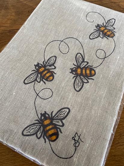 FULLERTON DESIGNS - Bumble Bees Tea Towel - Oatmeal