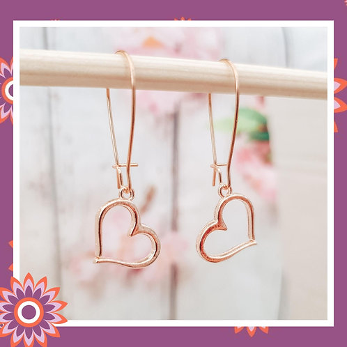 Rose Gold Coloured Open Heart Earrings