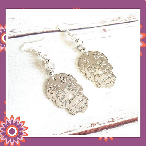 Silver Skull Earrings with Dragons Vein Beads