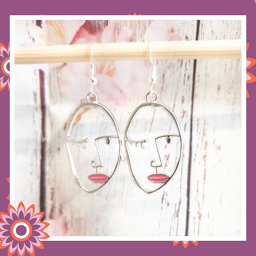 Face Earrings with Pink Lipstick