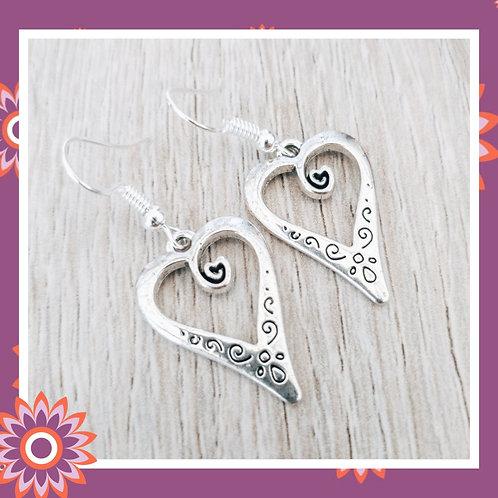 Engraved Heart Earrings