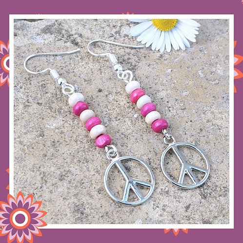 Pink Peace Symbol Earrings