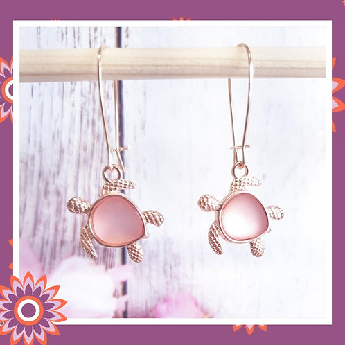 Rose Gold Coloured Turtle Earrings