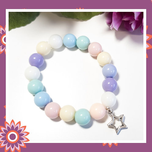 Childrens' Pastel Stretch Bracelet with Star Charm