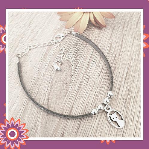 Cat Charm Suede Bracelet - Grey