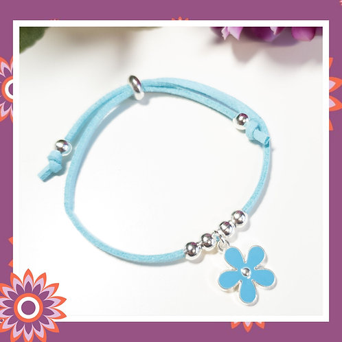 Childrens' Blue Suede Cord Bracelet with Flower Charm