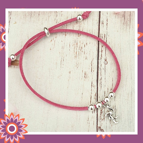 Pink Faux Suede Bracelet with Flamingo Charm