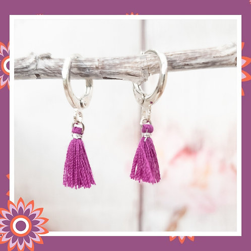 Silver Coloured Hoop Earrings with Purple Tassels
