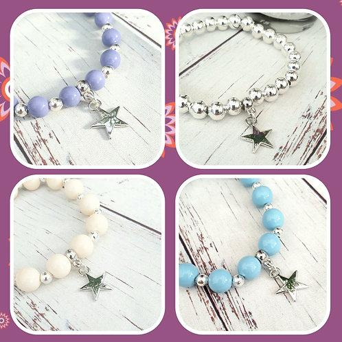 Stretchy Bead Bracelets with Star Charm