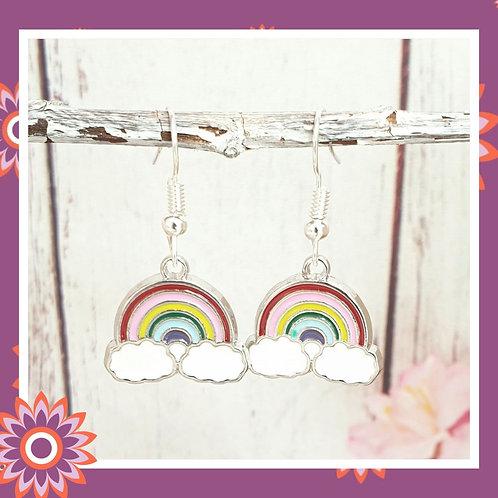Pretty Silver Rainbow Earrings