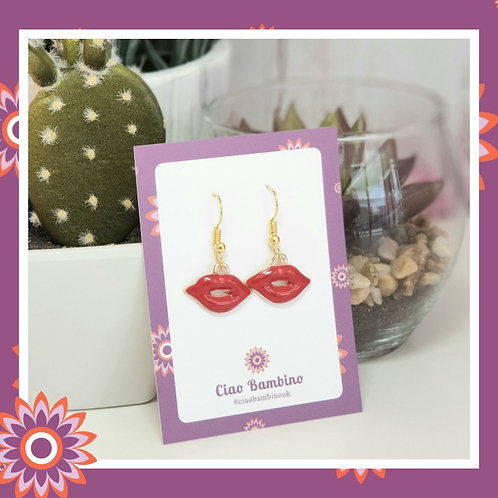 Gold Plated Red Lips Earrings