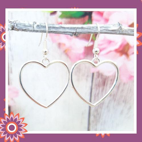 Open Heart Earrings with 925 Sterling Silver Ear Wires
