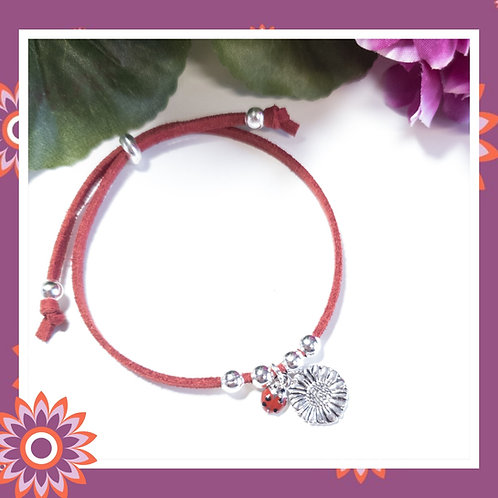 Childrens' Red Suede Cord Bracelet with Sunflower and Ladybird Charms