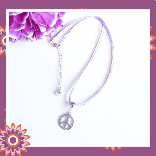 Peace Symbol Cord Necklace
