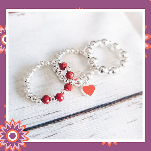 3 Beaded Stacking Rings with Red Heart Charm
